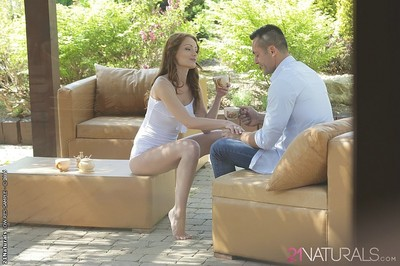 Sophie lynx diminutive tits brunette gets her anus penetrated outdoors