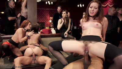 4 slutty anal slaves fuck their way during our raunchiest, kinkiest gangbang of the