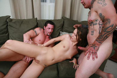 Brunette in threesome anal hardcore fuck ass