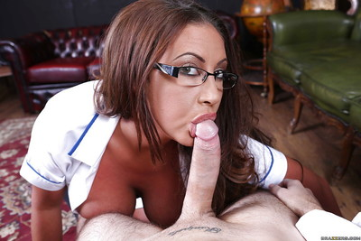 Topheavy nurse in glasses gets her hairless love holes fucked har