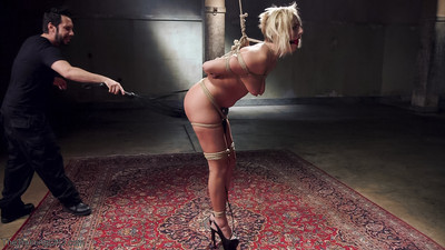 Kate england bound tight, beat red, face fucked, and pounded in the ass!