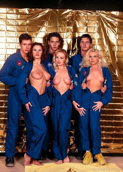 Silvia saint christine and wanda curtis remove their blue uniform to enjoy the o