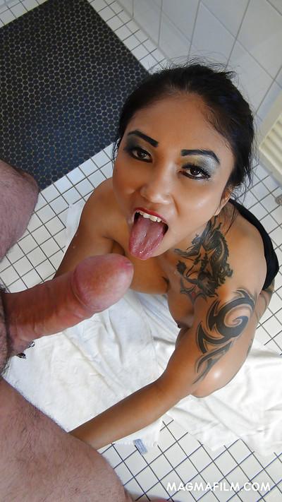 Asian pornstar Kim XXX taking hardcore ass smoking in the shower