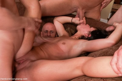 Asian beauty in her first gangbang ever