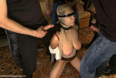 Asian girl is overpowered and gangbanged by group of guys