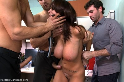 Milf with a large mangos gangbanged by coworkers