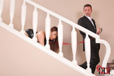 Tigerr benson has her ass banged tied up on a leash