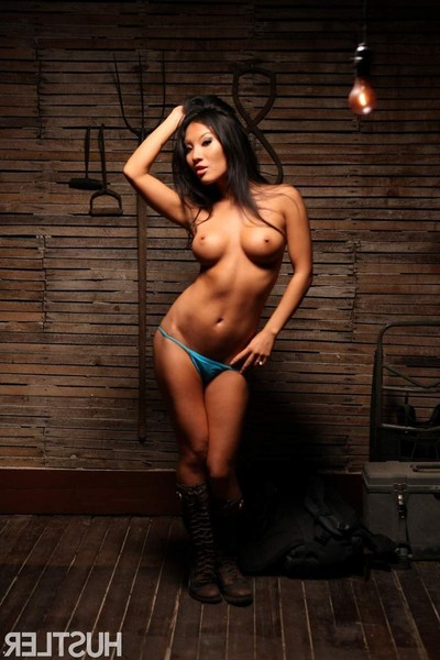 Asa akira rides pecker in the barn in her rugged riding boots