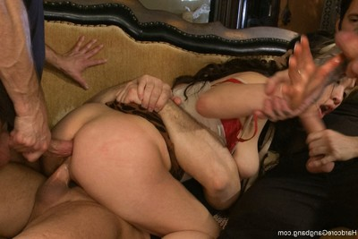Group sex  damp oriental queen with major common pantoons  airtight penetration twofold vag
