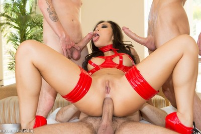 Asa akira has all her holes crammed immediately by triple giant ramrods