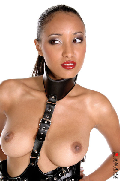 Hungry eastern darling chems in leather corset and boots