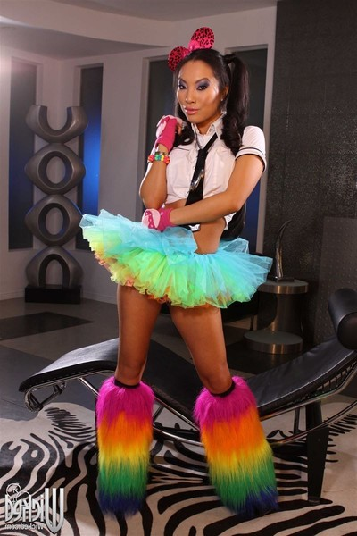 Asa akira accepts nailed in her rainbow tutu and shaggy boots