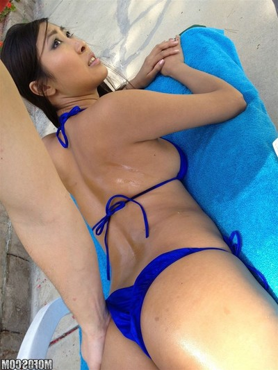 Sharon lee acquires butt team-fucked in a blue bikini outside