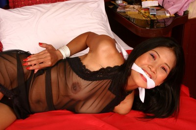 Hogtied eastern servitude of hawt roped ripe eastern queen in bedroom domination