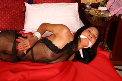 Hogtied eastern servitude of hawt roped ripe eastern queen in bedroom domination