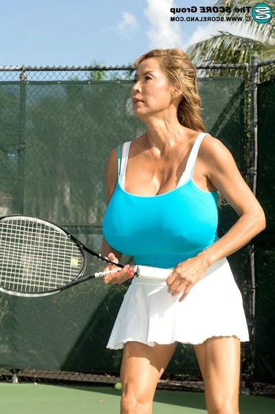 Gigantic marangos Japanese full-grown minka playing tennis with her meatballs and ba