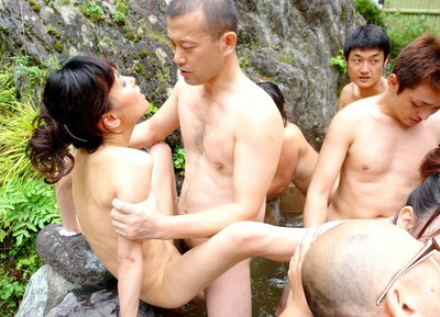 Oriental fresh chicks owned massive in pool group sex