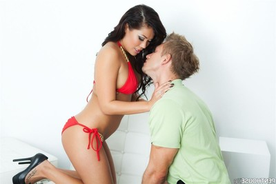 London keyes rides a tense penis in her clammy red bikini