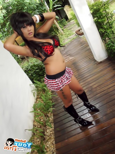 Immense tit thai girlfriend striptease and posing outdoors