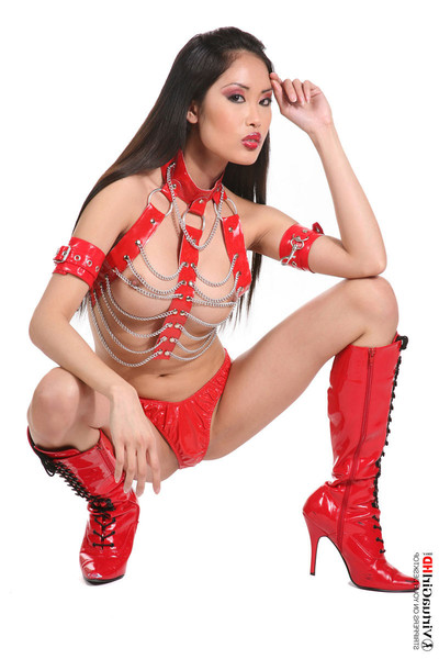 Moist eastern gal davon kim in red leather and chains