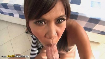Super taut gentile Thai young Kumlai with her bubble a-hole acquires a clammy creampie