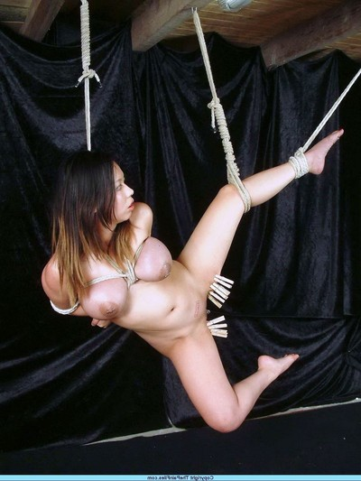 Punished japanese slavegirl in Japanese rope submission suspension submission and fetish torture
