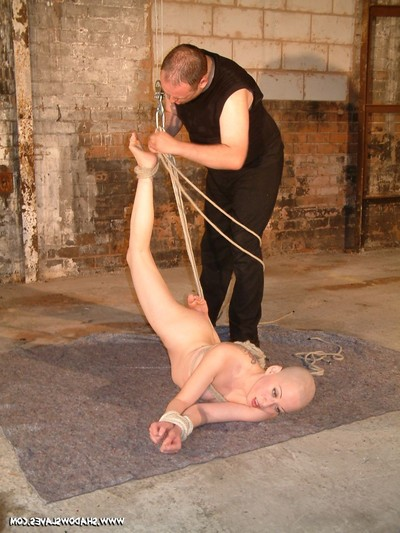 Skinhead japanese slavegirl kumimonsters subjection and suspension in the fetish black room