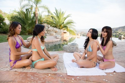 Oriental lesbo pool gathering with alina li angelina chung cindy starfall and marica