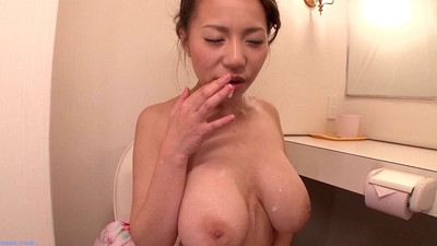 Curly Chinese grown ruri saijo penetrated in the wc