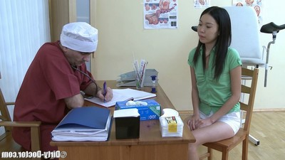 Sexually aroused doctors stick examines moist Japanese cum-hole