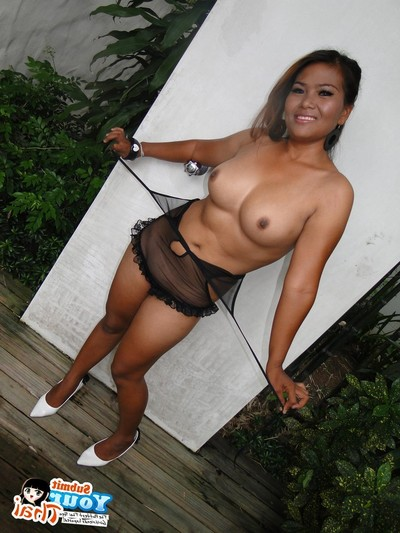 Vast tit thai girlfriend striptease and posing outdoors