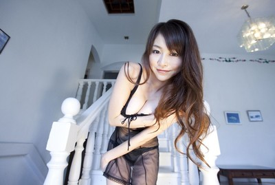 Marvelous oriental anri sugihara posing in brown underclothes