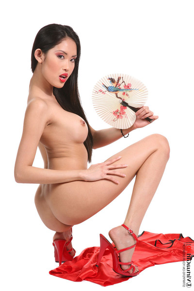 Small oriental beauty davon kim in red erotic dance unclothed