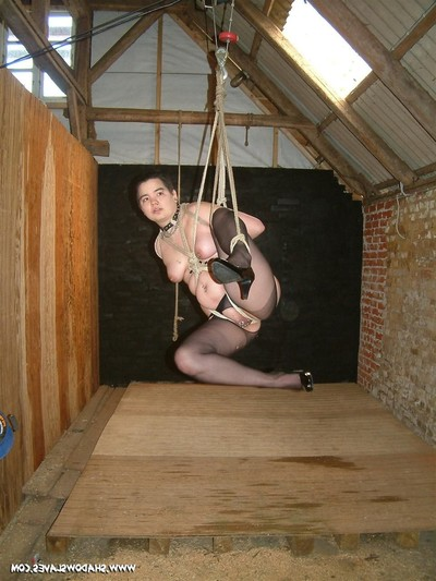 Eastern slavegirl is suspended in rope subordination