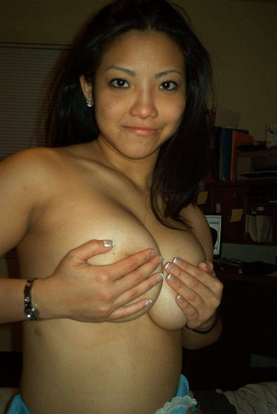 Rounded topless Chinese playgirl