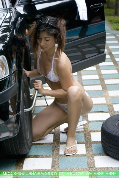 Youngasian bunnie mekumi car act unclothed