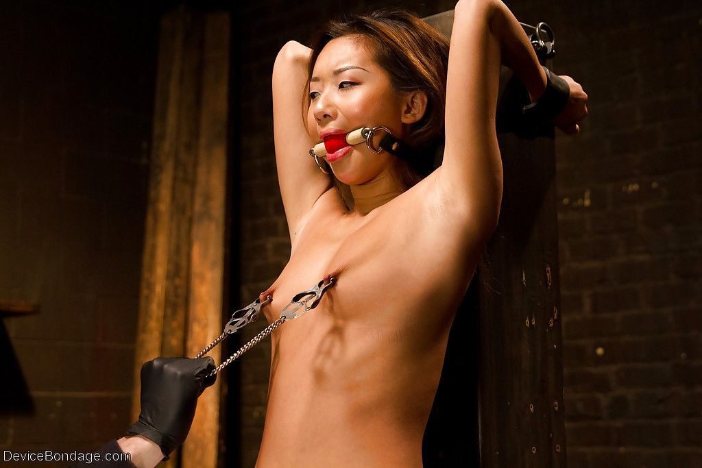 Asian cutie Alina Li feels little breasts suffer painful clamping and spreading