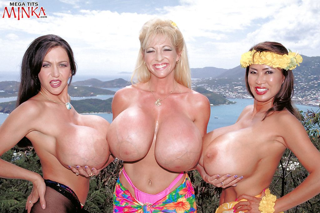 Chesty lesbian cuties Minka, Maxi Mounds and Casey James flaunt severe mangos outside