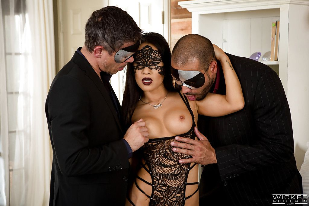 Masked Japanese pornstar Asa Akira getting fucked in MMF Male+Male+Female