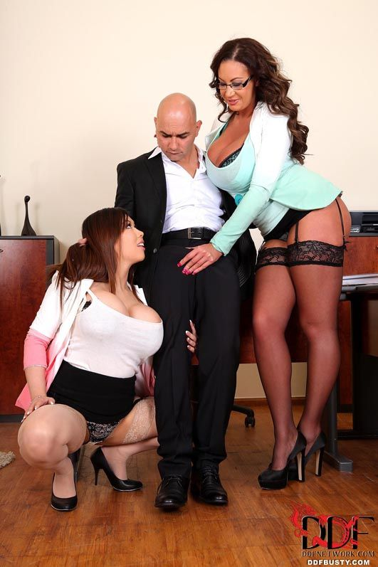 Chesty office workers Emma A-hole & Tigerr Benson take ass-hammering during the time that MMF