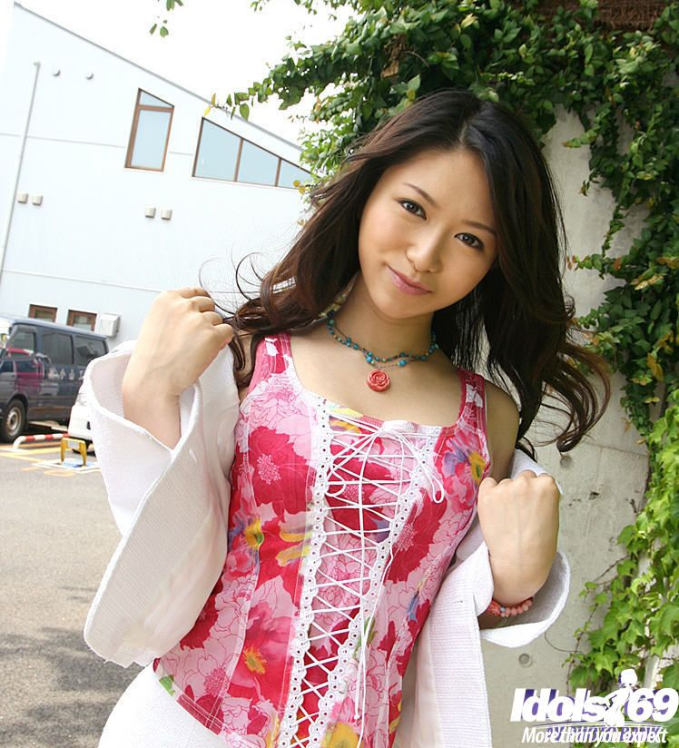 Thoroughly covered Japanese marsh mellow flashing her worthy jugs and bush outdoor
