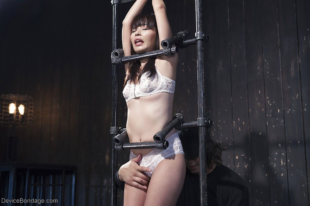 Chinese dear Marica Hase covered in painful clamp pegging and sweaty wax