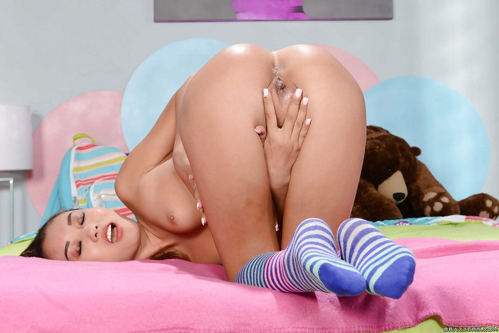 Alina Li is revealing her small body in firm blue underclothing in her room