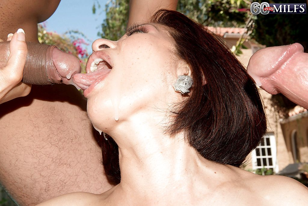 60 plus Chinese mature Kim Anh giving large schlongs bj outside in MMF threesome