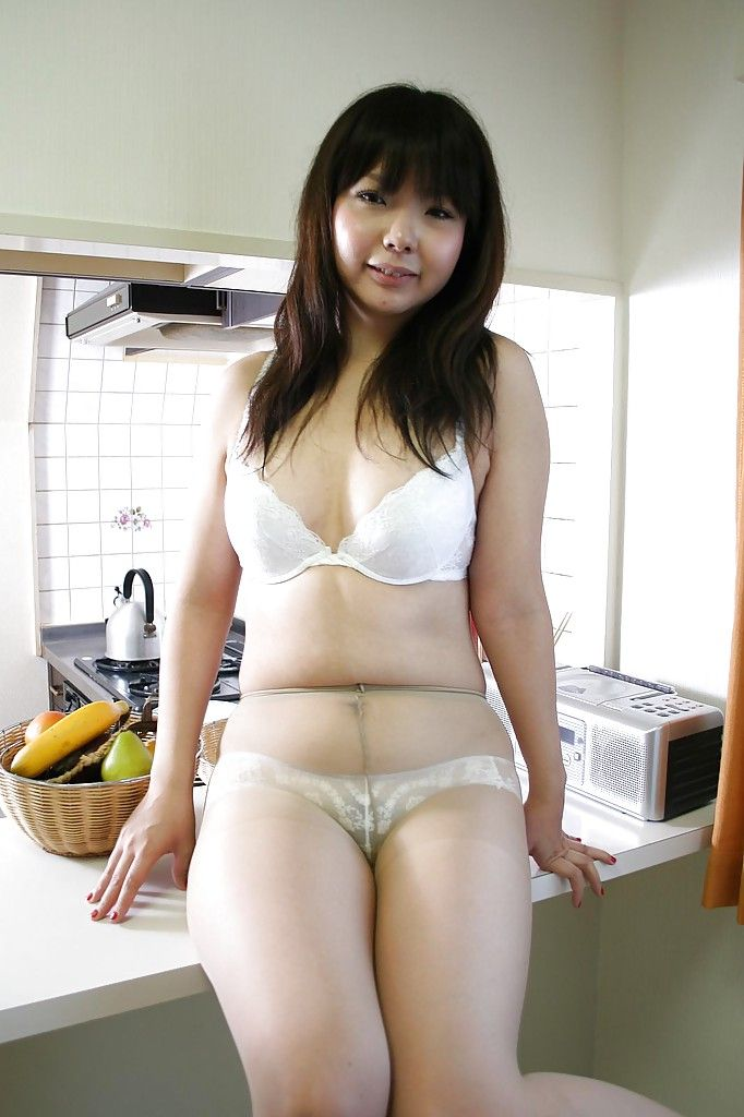 Muscular Japanese darling in lingerie and tube undressing and vibing her twat