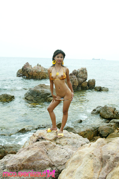Fresh year old thai juvenile in tiger bikini at the beach flashes all her dirty parts