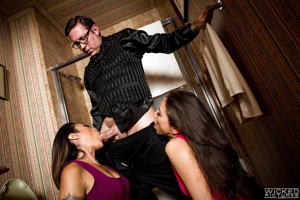 Japanese pornstars Kalina Ryu and Kaylani Lei fabulous spunk on face afterward oral job pleasures