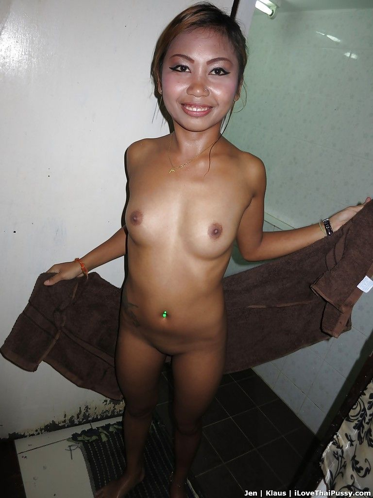 Tattooed Thai solo exemplar showing off moist gentile and smooth head cum-hole in shower-room