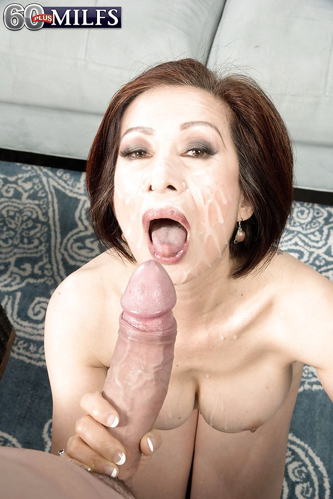 Curvy Chinese grandpa Kim Anh giving giant dick BJ prior to facial cumshot
