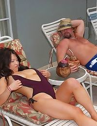Curvy eastern MILF Mia Rider enjoys hardcore percussion in the pool